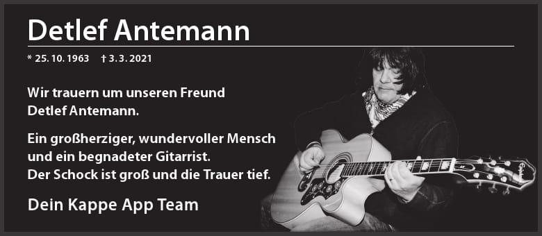 Traueranzeige WN für Detlef Antemann